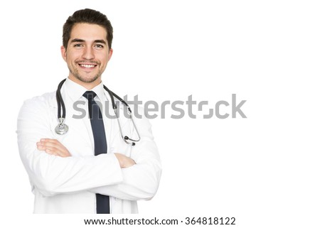Health is the biggest priority. Half length studio portrait of a young male doctor smiling with confidence isolated on white copyspace on the side - stock photo