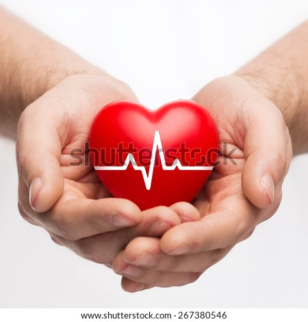 health, medicine and charity concept - closeup of male hands holding red heart with ecg line