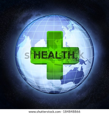 health of Asia earth globe at cosmic view concept illustration - stock photo