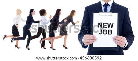 health resource concept - running business women and man holding clipboard with text 'new job' isolated on white background - stock photo
