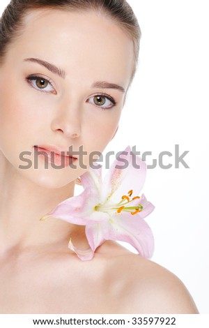 health skin of beautiful young woman - isolation on white
