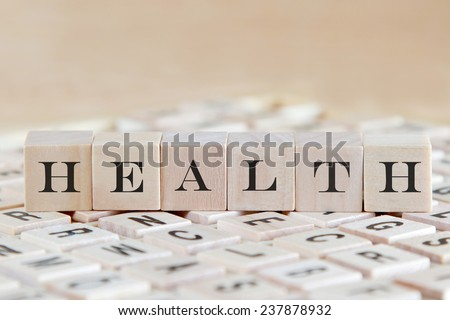health word background on wood blocks - stock photo