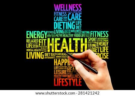 Health word cloud, health cross concept - stock photo