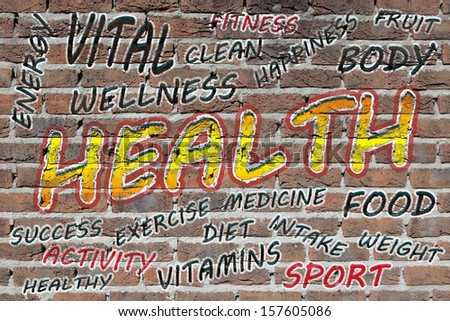 Health word cloud painted with grafitti on a brick wall