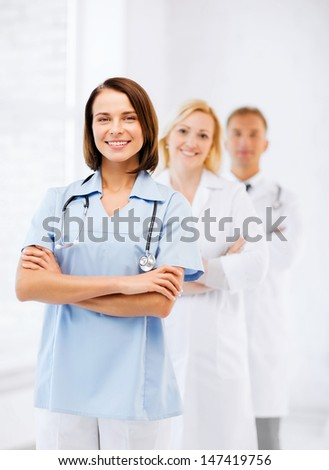 healthcare and medical concept - group of doctors - stock photo