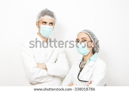 healthcare and medical concept - picture of two young attractive doctors  - stock photo