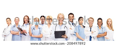 healthcare and medicine concept - smiling female doctors and nurses with stethoscope