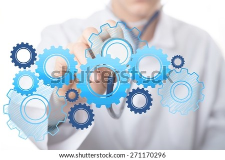 Healthcare And Medicine. Doctor holding stethoscope - stock photo
