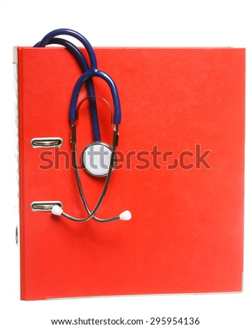 Healthcare, blue stethoscope and red file folder isolated on white - stock photo