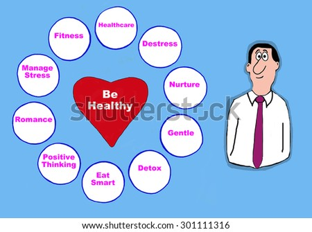 Healthcare cartoon showing a man beside the words, 'Be Healthy: manage stress, fitness, healthcare, destress, nurture, gentle, detox, eat smart, positive thinking, romance'.  - stock photo