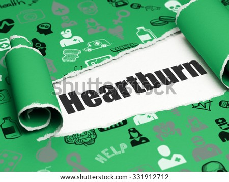 Healthcare concept: black text Heartburn under the curled piece of Green torn paper with  Hand Drawn Medicine Icons