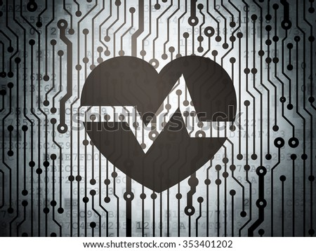 Healthcare concept: circuit board with  Heart icon, 3d render - stock photo