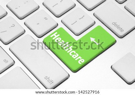 Healthcare concept: Healthcare key on the computer keyboard - stock photo