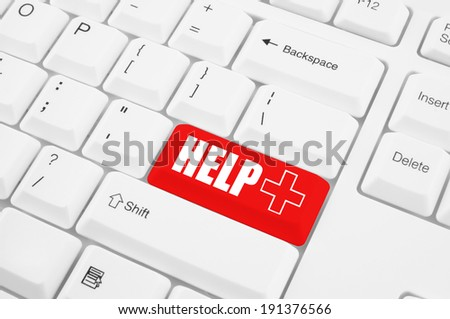 Healthcare concept, help key on the computer keyboard