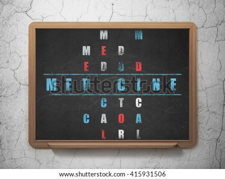 Healthcare concept: Painted blue word Medicine in solving Crossword Puzzle on School board background, 3D Rendering - stock photo