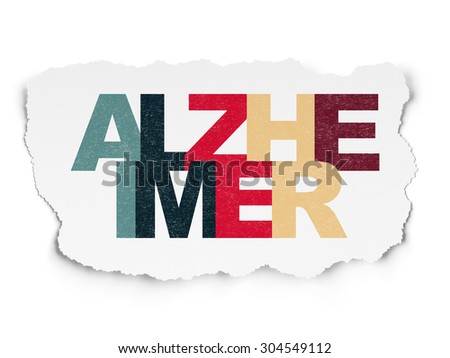 Healthcare concept: Painted multicolor text Alzheimer on Torn Paper background, 3d render - stock photo