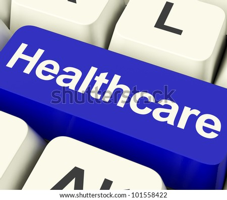 Healthcare Key In Blue Shows Online Health Care