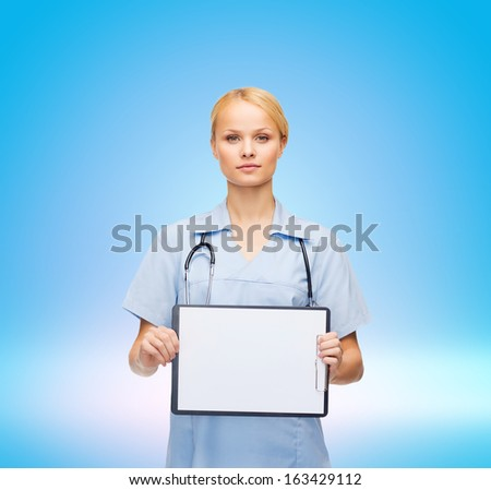 healthcare, medicine, advertisement and sale concept - smiling female doctor or nurse with stethoscope and white blank clipboard - stock photo