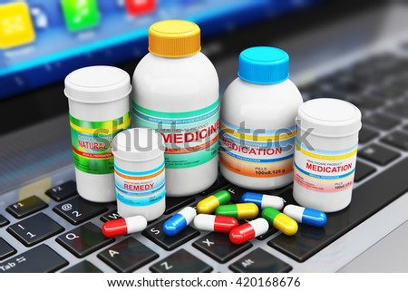 Healthcare, medicine and pharmacy industry business concept: 3D illustration of the group of health care medical supplies - bottles and cans with pills and tablets on laptop or notebook computer PC - stock photo