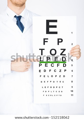 healthcare, medicine and vision concept - male ophthalmologist with eye chart