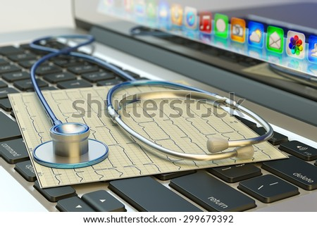 Healthcare, medicine, medical examination and diagnostic test concept, stethoscope tool on computer laptop keyboard - stock photo