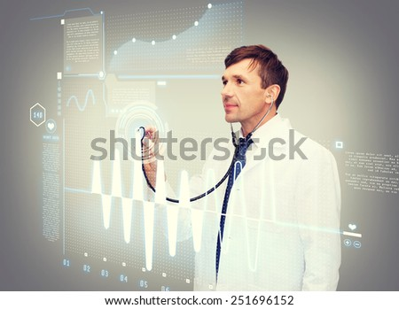 healthcare, new technology and medicine concept - middle-age male doctor with stethoscopeand cardiogram - stock photo