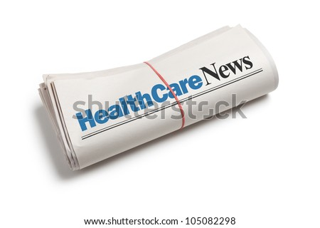 HealthCare News,Newspaper roll with white background