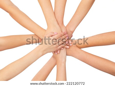 healthcare, people, gesture and medicine concept - close up of women hands on top of each other over white background - stock photo