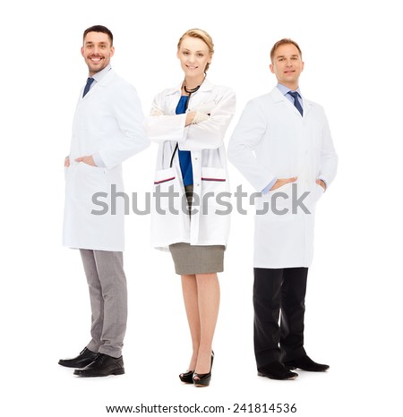 healthcare, profession and medicine concept - group of smiling doctors in white coats over white background - stock photo