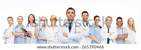 healthcare, profession, people and medicine concept - group of medics with stethoscopes - stock photo