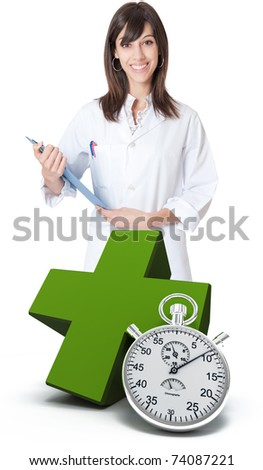 Healthcare professional, a green cross and a chronometer - stock photo