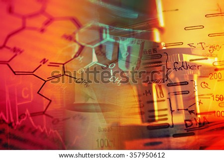 Healthcare science background with microscope. Laboratory concept.
