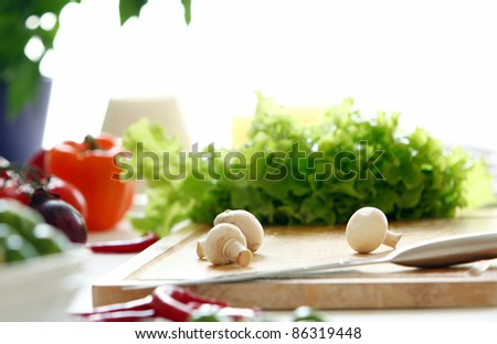 Healthly food on the table in the kitchen - stock photo