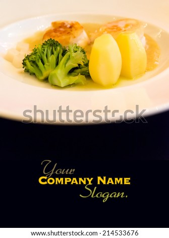 Healthy and delicious gourmet dish in a restaurant - stock photo