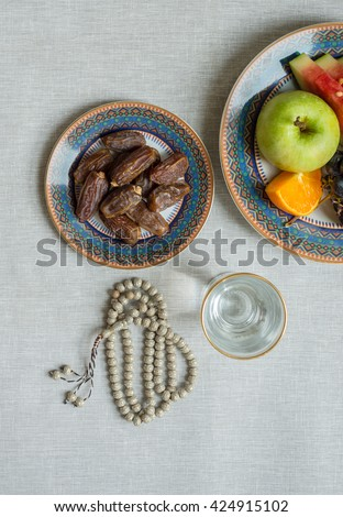 Healthy and fresh fruits, dates for breaking fast during Holy month of ramadan. - stock photo