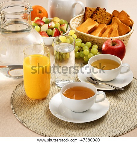 Healthy and light breakfast - stock photo