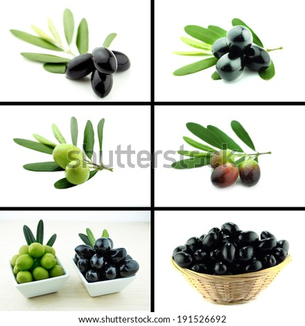 Healthy and organic food, Set of fresh black and green olive. - stock photo