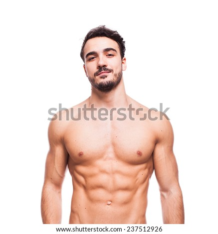 healthy athletic young man with muscle, half naked, isolated on white - stock photo