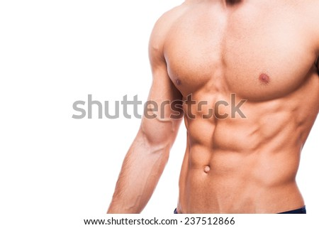 healthy atletic body with nice muscle on white backgound - stock photo