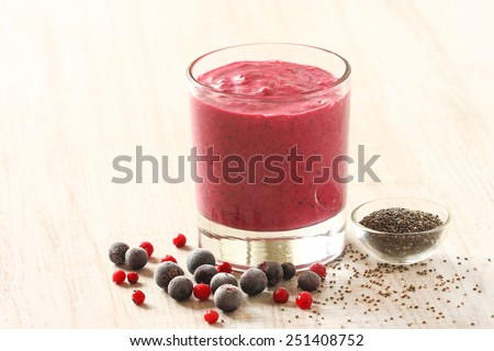 Healthy blended smoothie made from almond milk, berry fruits and chia seeds
