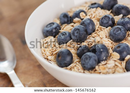 Healthy Blueberries Oatmeal - stock photo