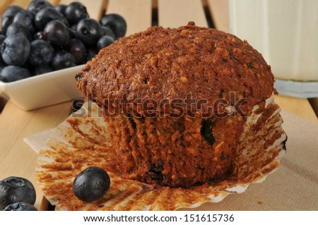 Healthy bran muffin with flax seed and wild blueberries  - stock photo