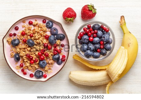 Healthy breakfast. Bowl of yogurt with granola and berries - stock photo