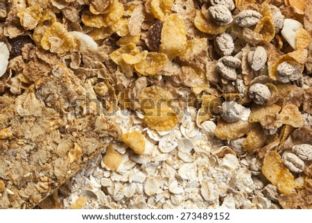 Healthy breakfast cereals.  Full-frame background, overhead view. - stock photo
