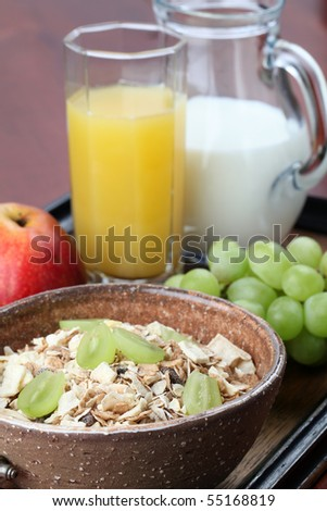 Healthy breakfast consisting of granola, grapes, apple, orange juice and milk