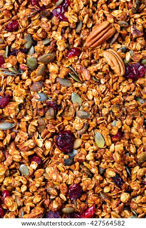 Healthy breakfast. Fresh granola, muesli with pumpkin,pecan nuts,cranberries and maple syrup. Copy space. Top view - stock photo