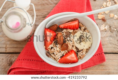 Healthy Breakfast. Homemade granola with almonds, raisins, strawberries, banana and Chia seeds. Selective focus
