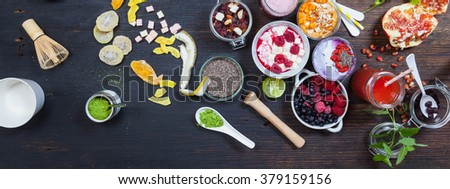 Healthy Breakfast matcha green tea, cocnut milk and berries smoothie bowl with superfood ingredients, Clean eating breakfast concept, top view, white wooden table, rustic style, banner - stock photo