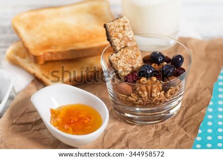 Healthy Breakfast. Muesli and Berries. Diet concept. - stock photo