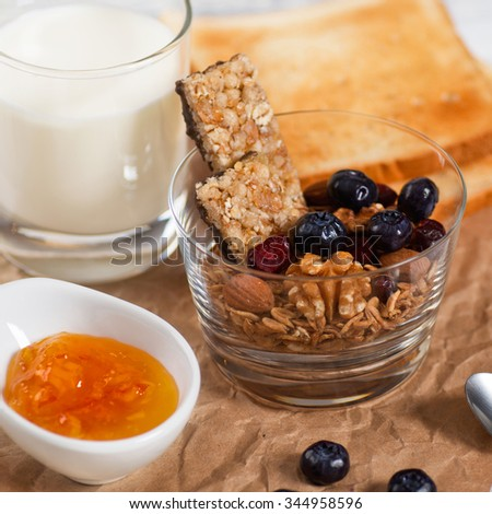 Healthy Breakfast. Muesli and Blueberry. Diet concept. Square Format. - stock photo